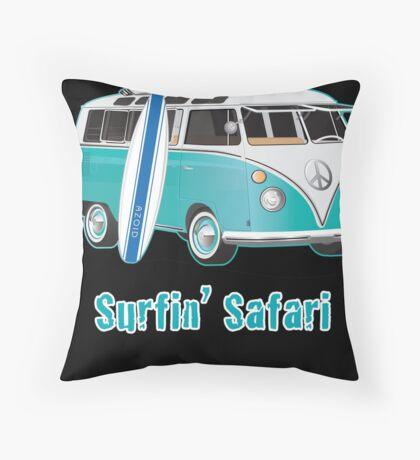 Split Window VW Bus Surfing Safari Van Throw Pillow