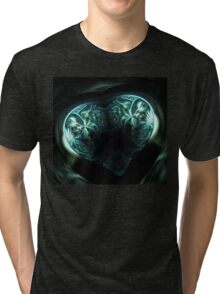 Crystal stylized heart, in the style of Gothic jewelery Tri-blend T-Shirt