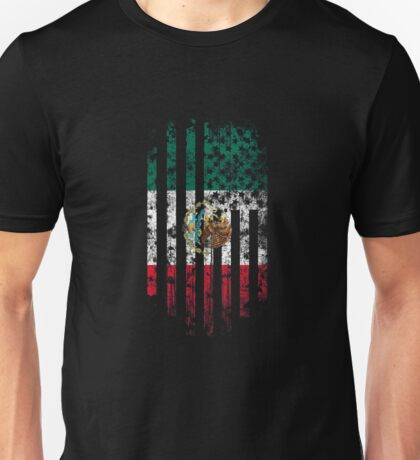 Mexico and America Flag Combo Distressed Design Unisex T-Shirt