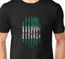 Nigeria and America Flag Combo Distressed Design Unisex T-Shirt