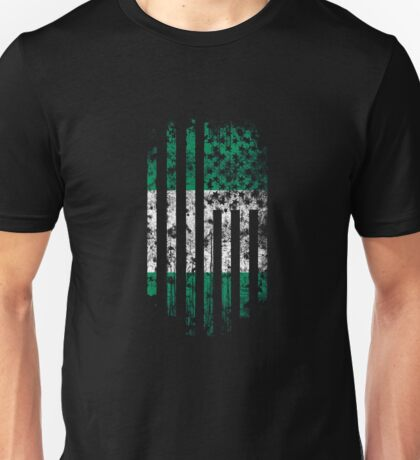 Nigeria and America Flag Combo Distressed Design Unisex T-Shirt