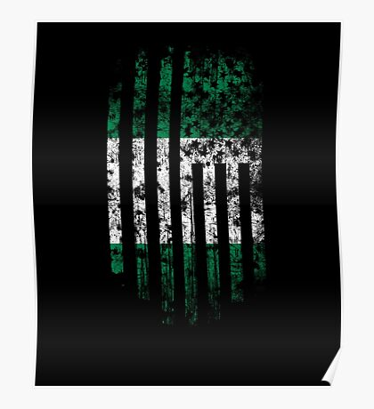 Nigeria and America Flag Combo Distressed Design Poster