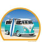 Split Window VW Bus Surfer Van on Beach Round by Frank Schuster
