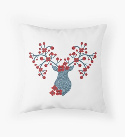 Boho Chic Deer Trophy Floral Antlers Throw Pillow