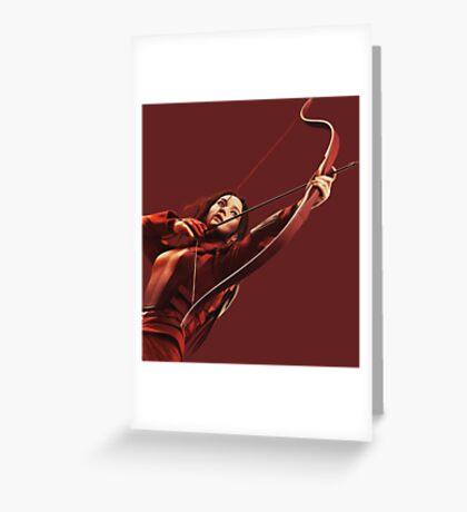RED MOCKINGJAY Greeting Card