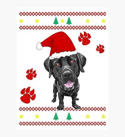 Black Labrador Retriever ugly sweater Christmas T-shirt and gift Photographic Print