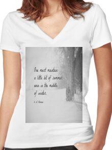 Winter Thoreau Women's Fitted V-Neck T-Shirt