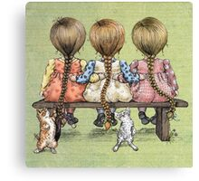 girls and kittens Canvas Print