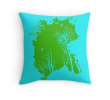 Forest Silhouette in Green Throw Pillow
