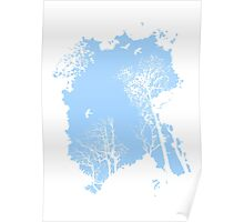 Forest Silhouette in Light Blue Poster