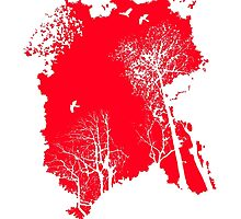 Forest Silhouette in Light Bright Red by nyabaydesigns