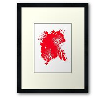 Forest Silhouette in Light Bright Red Framed Print