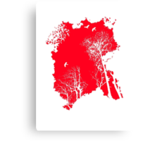 Forest Silhouette in Light Bright Red Canvas Print
