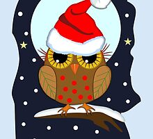 Cute Santa hat Owl Merry Christmas text card by walstraasart