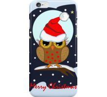 Cute Santa hat Owl Merry Christmas text card iPhone Case/Skin