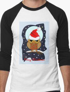 Cute Santa hat Owl Merry Christmas text card Men's Baseball ¾ T-Shirt