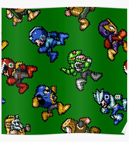 Megaman Soccer / pattern / 8 characters / green field Poster