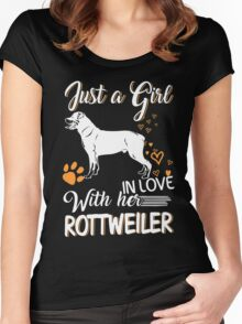 Just Girl In Love With Her Rottweiler Women's Fitted Scoop T-Shirt