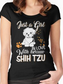 Just Girl In Love With Her Shih Tzu Women's Fitted Scoop T-Shirt