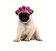 Hipster Pug Puppy Art Print