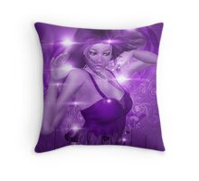 Girl on Violet background with floral Throw Pillow