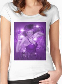 Girl on Violet background with floral Women's Fitted Scoop T-Shirt