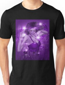 Girl on Violet background with floral Unisex T-Shirt