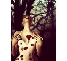 Girl with Bloody Heart Photographic Print