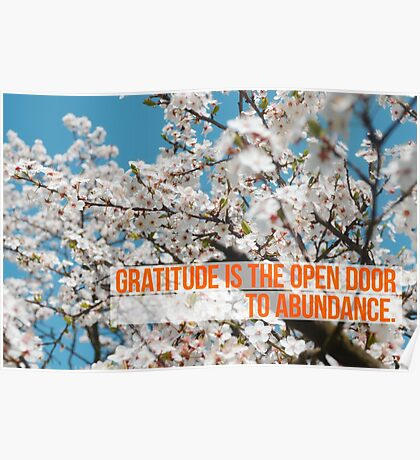 Gratitude is the open door to abundance Poster