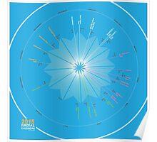 Radial Calendar in Blue Poster