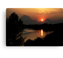 Sunset at Oxbow Bend Canvas Print