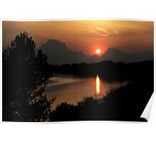 Sunset at Oxbow Bend Poster
