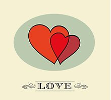 Two hearts in love vintage design Photographic Print