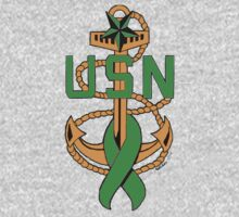 ALL-GREEN SCPO Insignia with Mental Illness Awareness Ribbon by Mokonu