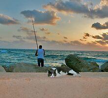 The Fisherman and the Sunset by Nira Dabush