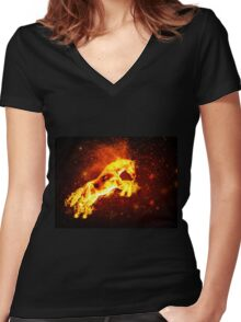 Fire horse 3 Women's Fitted V-Neck T-Shirt