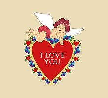 Loveli little angel and big red heart vintage design by vinainna