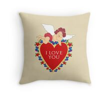 Loveli little angel and big red heart vintage design Throw Pillow