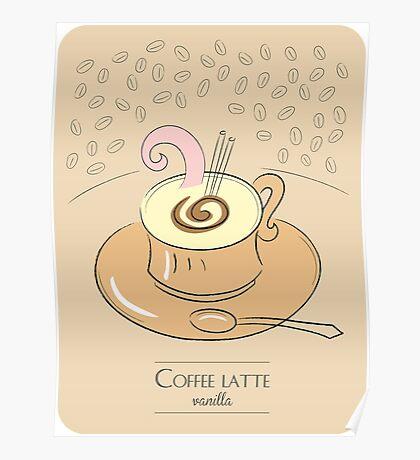 Coffee latte vanilla vintage design Poster