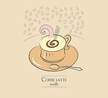 Coffee latte vanilla vintage design by vinainna