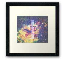 cross fuck you galaxy Framed Print