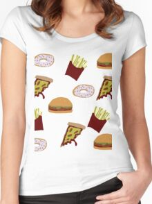 Fast Food Print Women's Fitted Scoop T-Shirt