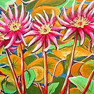 Pink Waterlillies  by marlene veronique holdsworth