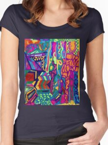 Brightly Colored Shapes and Patterns Women's Fitted Scoop T-Shirt