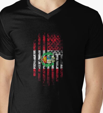 Peru and America Flag Combo Distressed Design Mens V-Neck T-Shirt