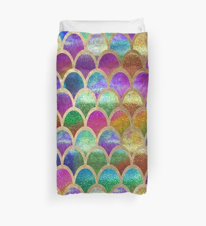 Rainbow mermaid scales Duvet Cover