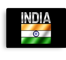 India - Indian Flag & Text - Metallic Canvas Print