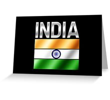 India - Indian Flag & Text - Metallic Greeting Card
