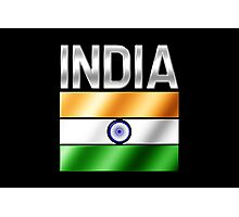 India - Indian Flag & Text - Metallic Photographic Print