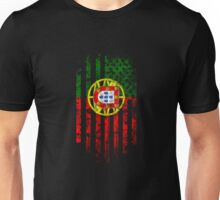 Portugal and America Flag Combo Distressed Design Unisex T-Shirt